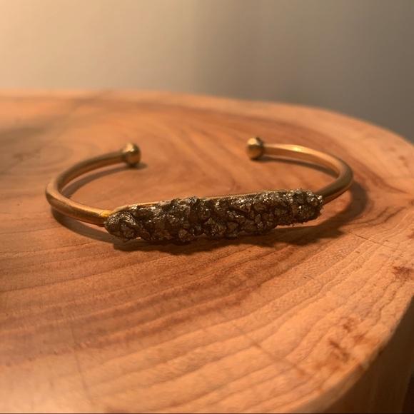 Pyrite Druzy Cuff Bracelet
